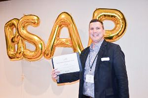 Transat has been a BSAP supporter from the beginning and here, Dan Prior, sales manager for Ontario and Atlantic Canada for Transat accepts the student ambassador award for BCIT's Alina Doaga, who was unable to attend this year's awards ceremony.