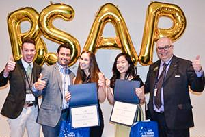 In today's feature photo, from l to r, giving the thumbs up for the 2017 edition of the Baxter Student Ambassador Program are: Seneca's Sean Price; WestJet Vacations' director of product, Dave Cecco; Jessica Turda, Seneca College's BSAP Ambassador; Jenny Kim, Sheridan College's BSAP Ambassador; and Roger Halfacre of Sheridan College