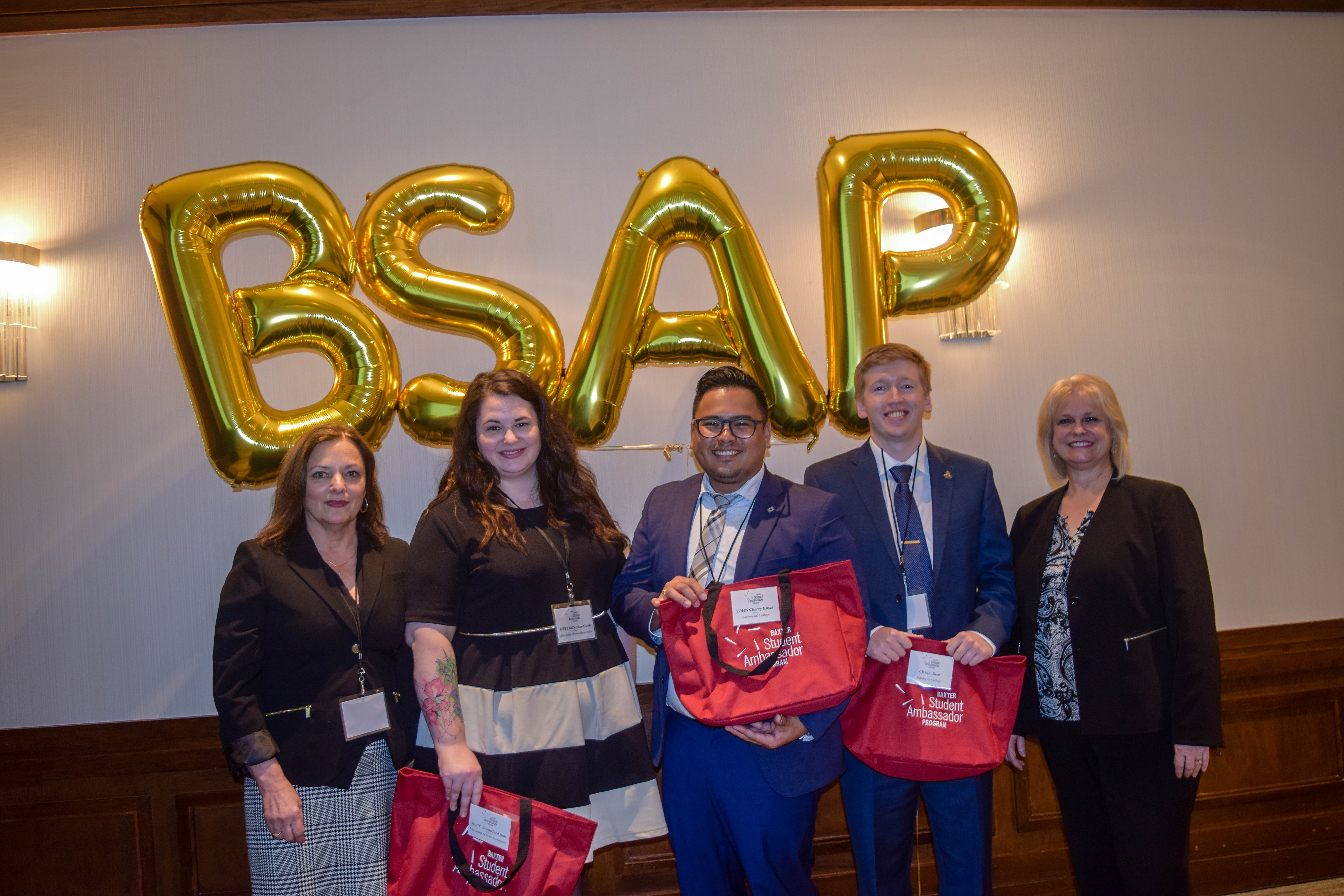 (l-r) Wendy McClung, Executive VP Operations, Baxter Media; Abby DePencier-Cook, Baxter Ambassador, University of New Brunswick; John Chervy Rosal, Baxter Ambassador, Centennial College; Craig Rice, Baxter Ambassador, Fanshawe College; Wendy Paradis, President, ACTA